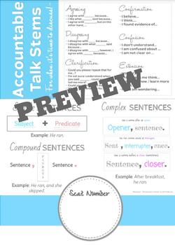 Accountable Talk Stems & Sentence Patterns Desk Cards