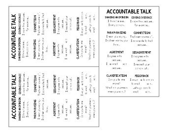 Accountable Talk Student Reference Sheet for Table Frame