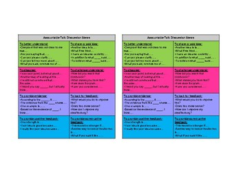Accountable Talk Table Cards