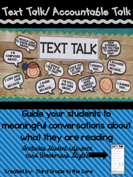 Accountable Talk {Text Talk - Talking Stems} Class Display
