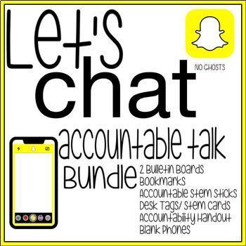 """Accountable Talk STEMS Literacy Bundle """"Let's Chat"""" Snapchat Snapclass Set"""
