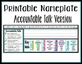 Accountable Talk and Math Key Words Nameplate
