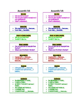Accountable Talk and Stop & Jot Bookmark
