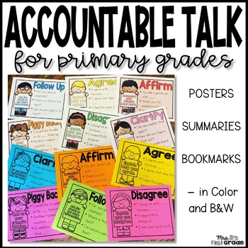 Accountable Talk for Primary Grades - Posters & Bookmarks