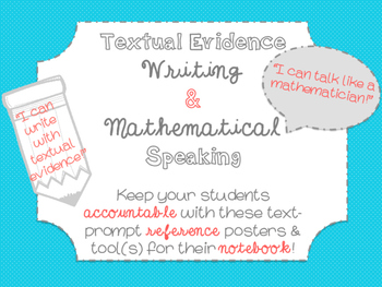 Accountable Text-Based Writing and Speaking Posters- Math & ELA {Coral & Teal}