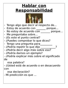 Accountable talk in Spanish- Hablar con Responsabilidad