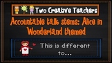 Accountable talk stems: Alice in Wonderland theme