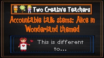 Accountable talk stems: Alice in Wonderland theme