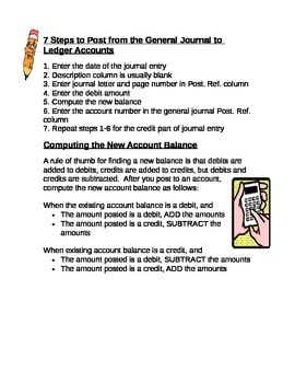 Accounting- 7 Steps to Post from General Journal to Ledger & Computing Balance