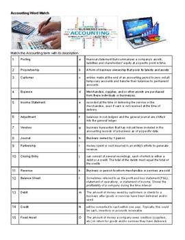 Accounting Business Word Match Handout Activity CTE
