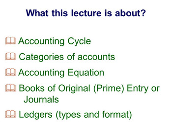 Accounting Cycle categories of accounts, double-entry rules