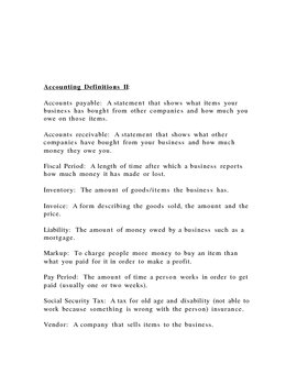Accounting Definitions for slow learners or substitute material or SLP