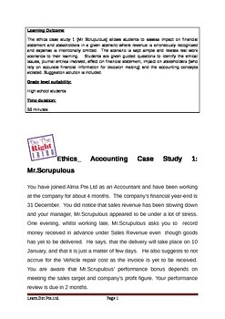 Accounting Ethics Case Study Revenue Recognition Accrual