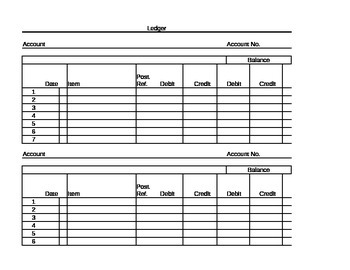 Accounting Ledger Paper Template