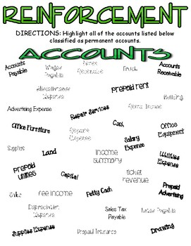 Accounting - Search and Find Accounts - Permanent & Temporary Accounts