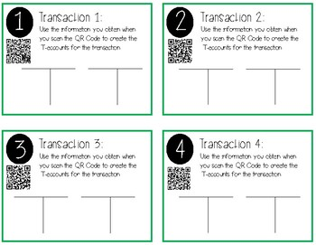 Accounting T-Account Task Cards
