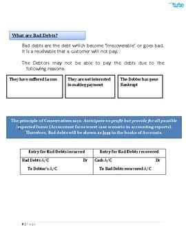 Accounts | Bad Debts | Assessments and Worksheets