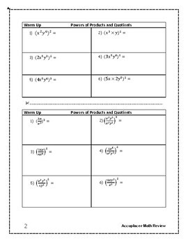 Accuplacer Next Generation Math Prep: Powers of Products and Quotients