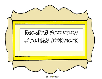 Accuracy Strategy Bookmark for Reading