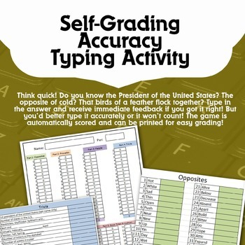 Accuracy Typing Activity - Quick Thinking!