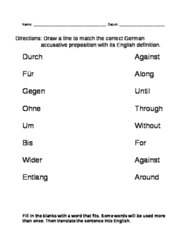 Accusative Prepositions Practice Packet