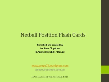 AcePE Netball Position Flash Cards