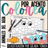 Colorea por Acento Hojas de Trabajo | Spanish Accents Worksheets Aquatic Animals