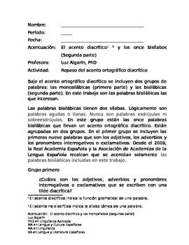 Acentuación ortográfica-El acento diacrítico y los bisílabos (Segunda parte).