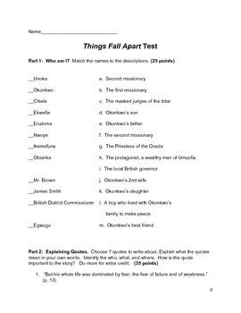 Things Fall Apart Test Teaching Resources Teachers Pay Teachers