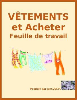 Vêtements et Acheter (Clothing in French) worksheet