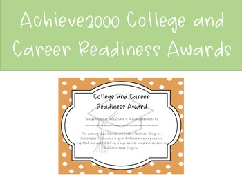 Achieve 3000 College and Career Readiness Award