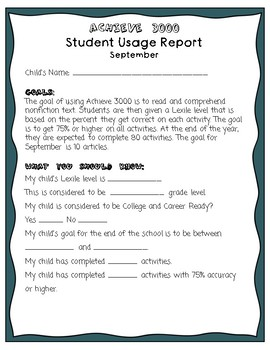 Achieve 3000 Student Usage Reports for Parents