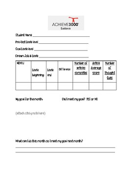 Achieve Monthly Data Tracking form