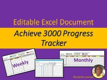 Achieve Reading Comprehension Data Progress Tracker