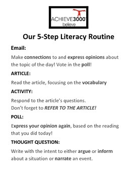 Achieve3000 5-Step Literacy REMINDERS