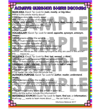 Achieve3000 Activity Question Stems Decoded