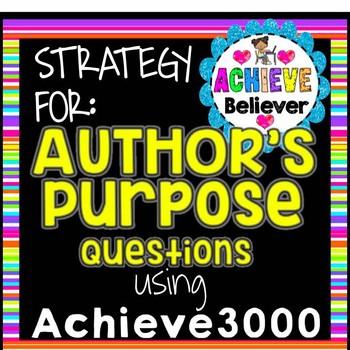 Achieve3000 Activity Strategy: Authors Purpose