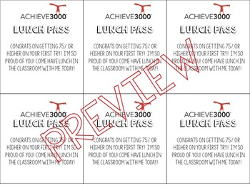 Achieve3000 Incentive Lunch Pass