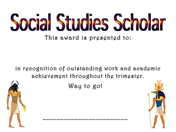 Achievement Award: Social Studies Scholar