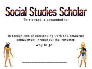 Achievement Award: Social Studies Scholar