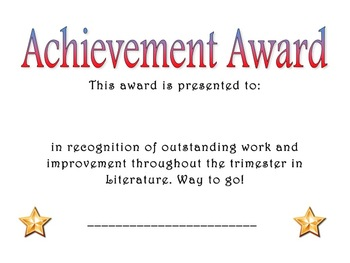 Achievement Award: Literature
