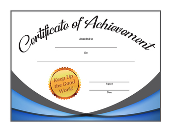 Achievement Certificate Award in 100 colors