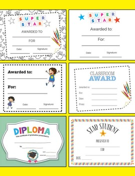 Achievement Certificates - Star Student, Super Star, Diplo