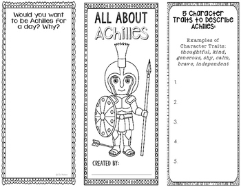 Achilles - Greek Mythology Biography Research Project - Interactive Notebook