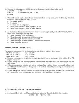 Acid Base AP Chemistry Exam