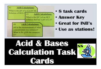 Acid & Base Calculation Task Cards