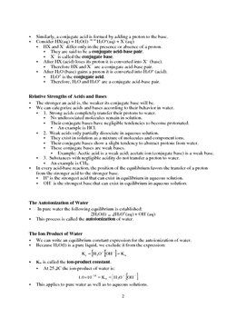 Acid-Base Equilibria - Quick Review Outline and Handout (Chemistry)