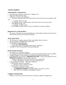 Acid-Base Equilibria - Quick Review Outline and Handout (C