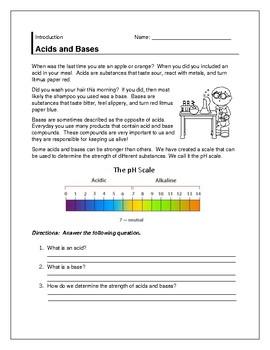Acid/ Base Litmus Paper Lab and Warm-up