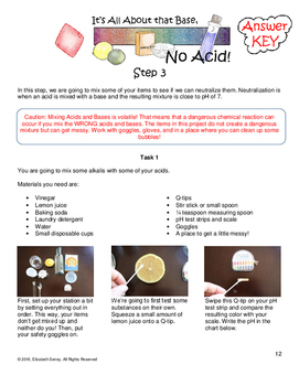 Acid Base Project for Montessori Middle School Math: Integer Operations 7.NS.All